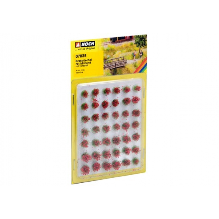 """07035 Grass Tufts """"blooming"""" red, 42 pieces, 6 mm"""