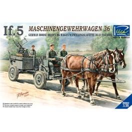 RV35012 1/35 WWII German IF-5 Horse Drawn MG Wagon with Zwillingslafette 36 (two horese & three figures)