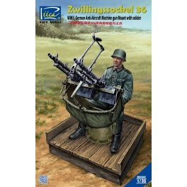 RV35047 1/35 WWII German Zwillingssockel 36 Anti-Aircraft MG Mount with Solider (include PE & Decal)
