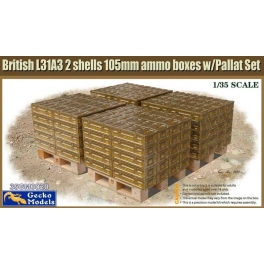 35GM0020 British L31A3 2 shells 105mm ammo boxes w/Pallet Set 1\35
